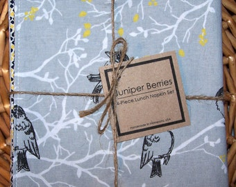 Gray Birds and Branches Reversible Cloth Lunch Napkin Set