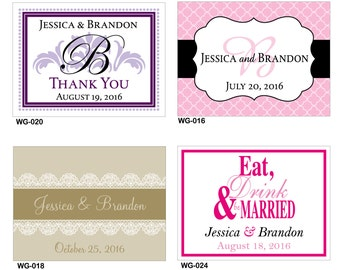 60 - 4x3 Glossy Waterproof Wedding Rectangle / Welcome Bag Stickers - hundreds of designs to choose - change designs to any color or wording