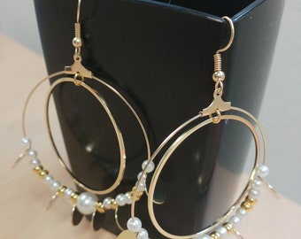Gold hoop earrings - Bohemian - pearls - DIY - handmade - gifts for her
