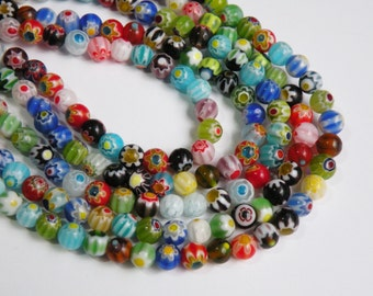 Multicolored Millefiori Flower Beads round ball 6mm full strand DB06831