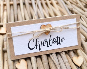 Rustic Heart Twine Place Name Card - Handmade Wedding Stationery