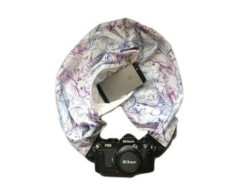 Reversible Little Mermaid Sketch Camera Strap with Lens Pocket -  The Original Camera Scarf With Pocket