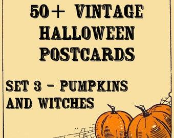 Vintage Halloween Postcards - Set 3 - Pumpkins and Witches - Instant download