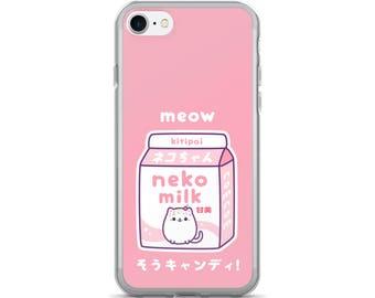 Kawaii Pink Cat Milk iPhone 7/7 Plus Case | Neko Milk