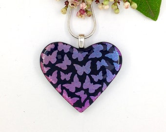Pink and lilac butterfly heart pendant