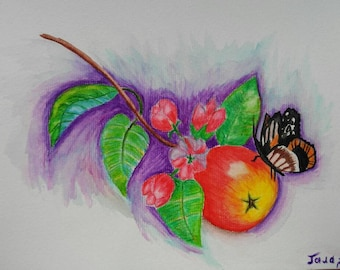 Original watercolor, butterfly in the apple tree