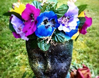 Pretty Pansy, fairy crown, Faerie, Head piece, wedding, cosplay, festival, costume, purple, yellow, dragonfly, fairy, gold, floral