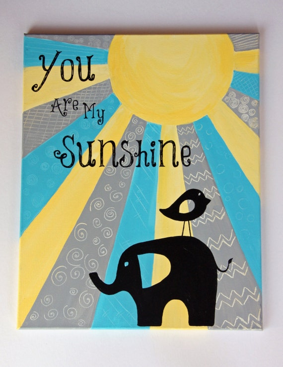 Items similar to You Are My Sunshine - Original Children\'s Art ...