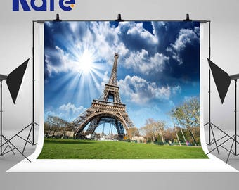 Sunny Eiffel Tower Paris Photography Backdrops Blue Sky White Clouds Photo Backgrounds for Wedding Studio Props