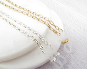 Pair of Silver and Gold Eyeglass Chains; Glasses Chain; Reading Glasses Necklace Holder; Eye Glass Chain; Glasses Leash; Chain for Readers