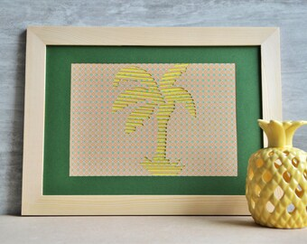 Displays Graphic-papier-poster-jaune-decoration-cadeau-a4-palmier-cocotier-arbre-exotique-paper cut-
