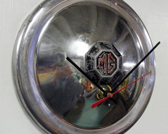 1950 - 1959 MG Hubcap Clock - Hub Cap Man Cave Decor Wall Art