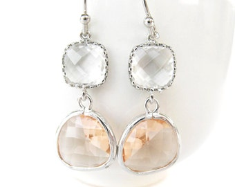 Crystal and peach earrings. Champagne earrings Silver blush earrings Peach glass earrings Peach bridesmaids earrings