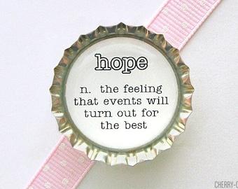Hope Dictionary Definition Bottle Cap Magnet - hope definition, of hope, black and white decor, kitchen organization, word fridge magnets