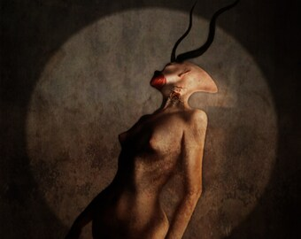 "Demon Art Print, ""Onoskelis"", Dark, Blasphemy"