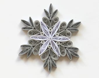 Quilled Snowflakes Paper Quilling Art Christmas Tree Decor Winter Hanging Ornaments Gifts Toppers Mandala Office Corporate Gray White