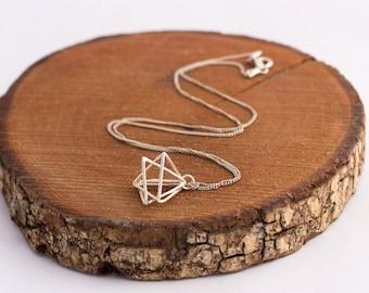 Sterling Silver 3D Merkaba necklace, Merkaba Pendant, Sacred Geometry Necklace, Star Tetrahedron, Star of David Pendant, Yoga Jewellery