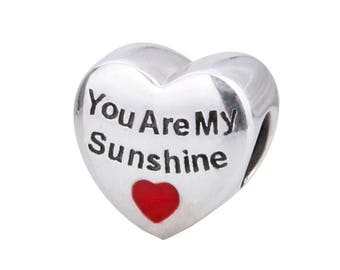 Silver My Sunshine Charm - Sterling Silver Sunshine Charm - Anniversary Charm - Love Gift Charm - My Only Sunshine -Fits all Charm Bracelets
