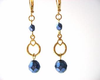 Blue Bead Earrings, Dark Blue and Gold Dangling Beaded Earrings, Simple Beaded Earrings, Modern Everyday Jewelry