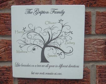 Personalized family tree Wooden Sign plaque gift idea