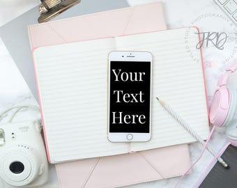 Pink Blank iPhone Styled Stock Photo Mockup