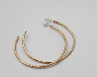 Bronze Hoops, Bronze Hoop Earrings, Hammered Hoops, Hammered Bronze Hoop Earrings, Open Hoops,  Bronze Open Hoops