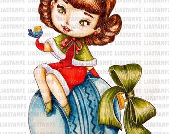 Digital stamp - Christmas Girl. Christmas digital stamp.winter digital stamp. Vintage digital stamp. Pin up girl digital stamp. LiaStampz