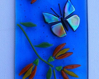 Butterflies and flowers, fused glass art,