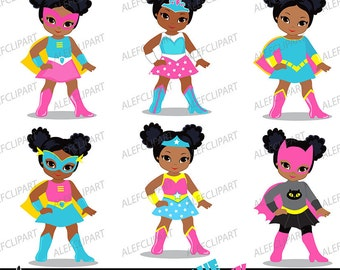 Supergirl clipart,African american,Multicultural,Supergirls Afros,Pink, Blue for Personal and Commercial use