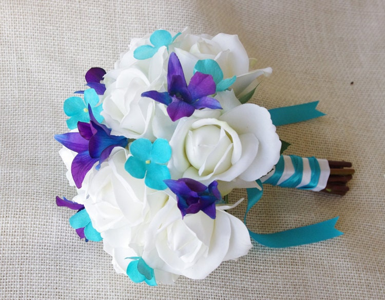 Silk Wedding Bouquet With Off White Roses Blue Purple And