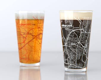 College Park, MD - University of Maryland - College Town Pint Map Glasses