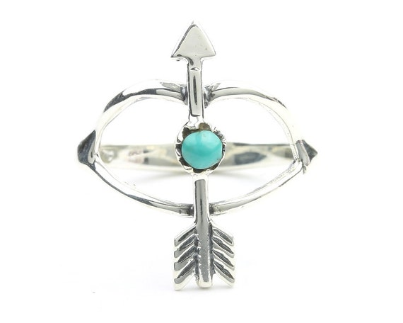 Bow And Arrow Ring, Sterling Silver Turquoise Arrow Ring, Boho, Bohemian, Gypsy, Festival Jewelry, Gemstone, Southwestern