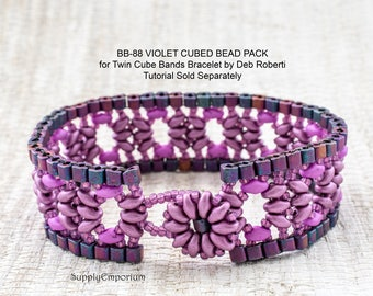 Violet Cubed BB-88 BEAD PACk for Twin Cube Bracelet by Deb Roberti - Tutorial Sold Separately