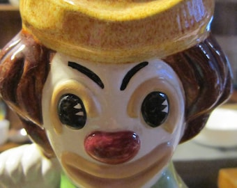 Happy Sad Clown Figurine Vintage 1970's Ceramic Double Faced Sided Novelty Shelf Home Decor Gift Collectible
