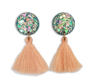 Something Blue Tassel Earrings - Clip On Earrings - Peach Earrings - Tassel Earrings - Sparkly Earrings - Lual Boutique