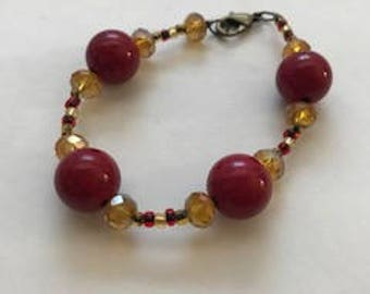 Gold and Red Beaded Bracelet, Gifts for Her