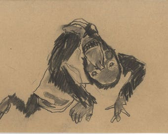 Orang-utan puppet original charcoal drawing OOAK