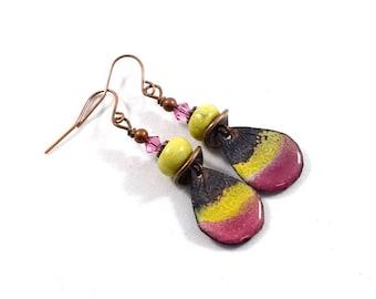 Handmade Earrings, Enameled Earrings, Raspberry Teardrop Earrings, Boho Earrings, Artisan Earrings, Teardrop Earrings, Small Earrings, AE045