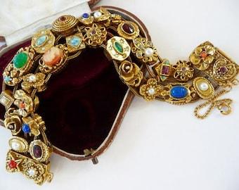 vintage Goldette Victorian slide bracelet | Victorian Revival double row slide charm bracelet | faux stones fantasy jewels | 1960s vintage