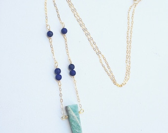 Amazonite  & lapis on 14k gold / aquamarine necklace / lapis chain / raw aquamarine / aquamarine pendant / raw gemstone