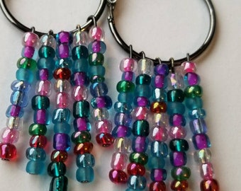 Multicolored Hanging Bead, Hoops