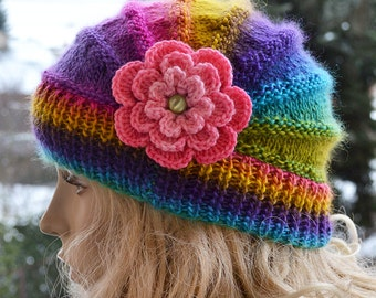 Knitted flower cap  hat lovely warm autumn accessories  women clothing  Knit Hat Womens