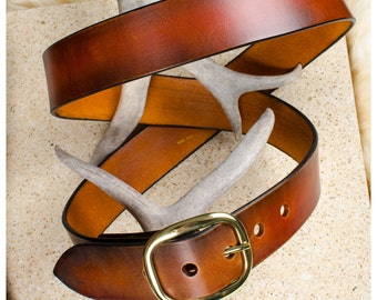 "Brown and black leather belt - 46"" (fits 44""-48"")"