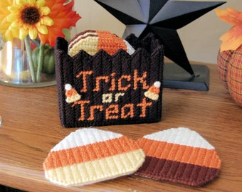 PATTERN: Candy Corn Coasters in Plastic Canvas
