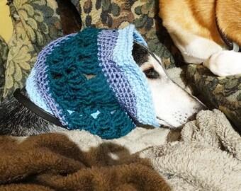 Handmade Crochet Hound Snood Saluki Sighthound One of a Kind Blue and Teal
