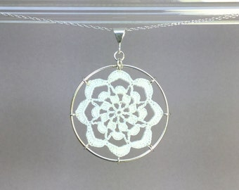 Serendipity doily necklace, white silk thread, sterling silver