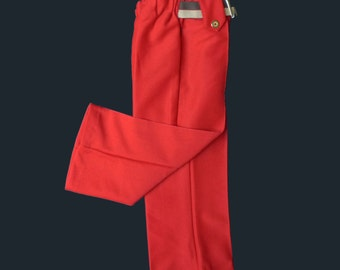 60's Red Flare Belted Trousers  12-18 Months