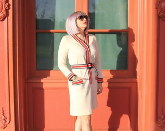 Cream 70's Sweater Dress