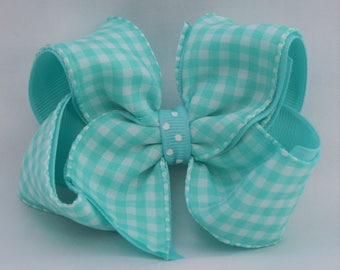 Aqua Gingham Hair Bow