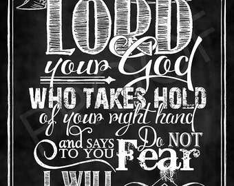 Scripture Art - Isaiah 41:13 Chalkboard Style